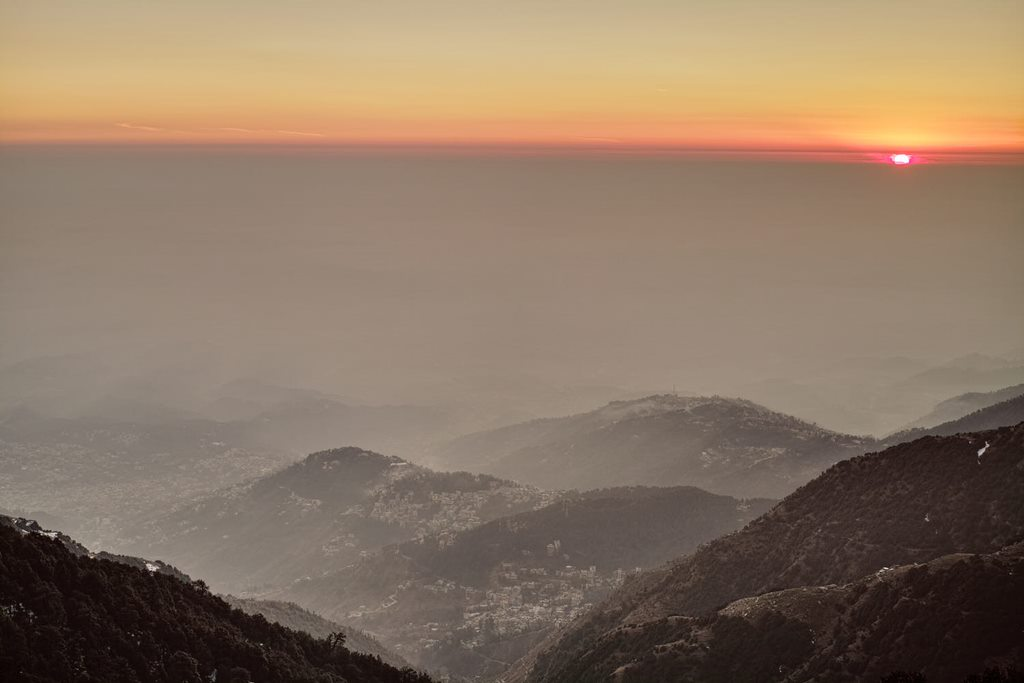 Dharamshala and Mcleodganj from Triund at sunset